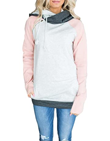 Hibote Damen Hoodie Pullover Pulli Langarm Sweatshirt Elegant  Kapuzenpullover Tops Bluse Kapuzen Rosa Gelb  12003bc737