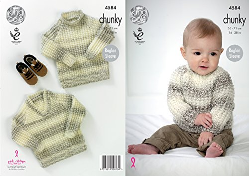 King Cole Baby Chunky Knitting Pattern Raglan Sleeve Round or V Neck Sweaters ()
