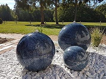 garten-wohnambiente Kugelbrunnen 40 cm Marmor blau Edelstahl ...