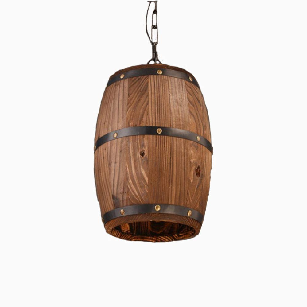 XQY Chandelier, Retro Wooden Barrel Pendant Lights, Creative Barrel Lighting, Cafe Bar Light Restaurant Lighting,Wood,262633Cm