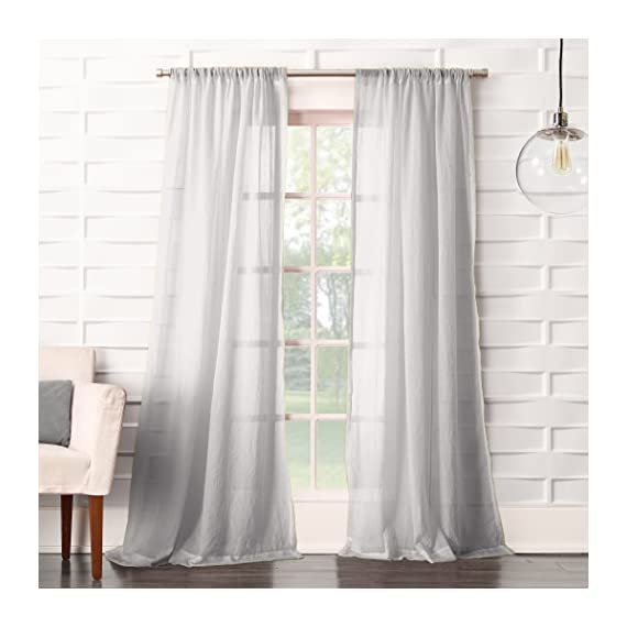 "No. 918 Tayla Crushed Sheer Voile Rod Pocket Curtain Panel, 50"" x 63"", Gray - Soft linen-like crushed texture Gently filters light while enhancing privacy Rod pocket design allows for easy hanging on a standard curtain rod - living-room-soft-furnishings, living-room, draperies-curtains-shades - 51y3XaZtgaL. SS570  -"