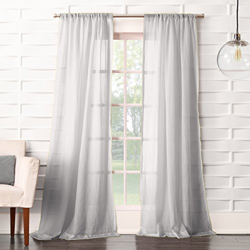 Crushed Voile - No. 918 Tayla Crushed Sheer Voile Rod Pocket Curtain Panel, 50