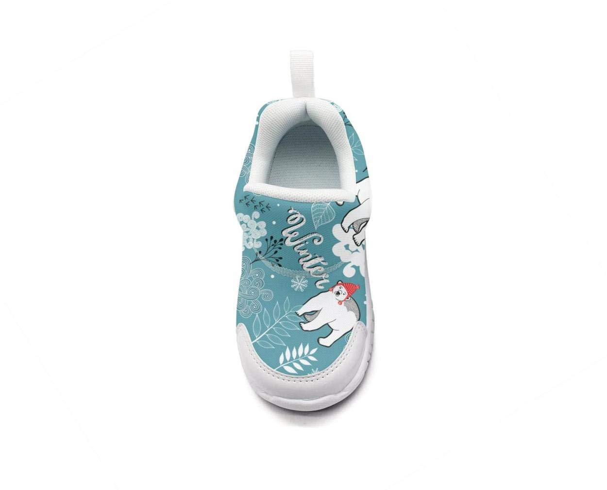 ONEYUAN Children Winter Frozen Forest Polar Bear Kid Casual Lightweight Sport Shoes Sneakers Walking Athletic Shoes