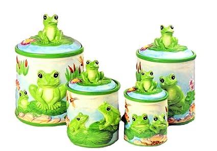 Merveilleux FROG Green Froggy 4 CANISTER SET Kitchen Storage Decor Ceramic 4 Pcs Rubber  Seal
