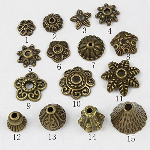 HYBEADS 100-150Piece Bali Style Jewelry Making Bronze Metal Bead Caps Deluxe New Mix, 100gm, Bronze