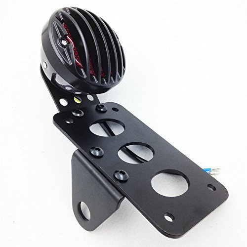 Astra Depot Motorcycle Side Mount Tag License Plate Holder Bracket Tail Light For Harley Softail black