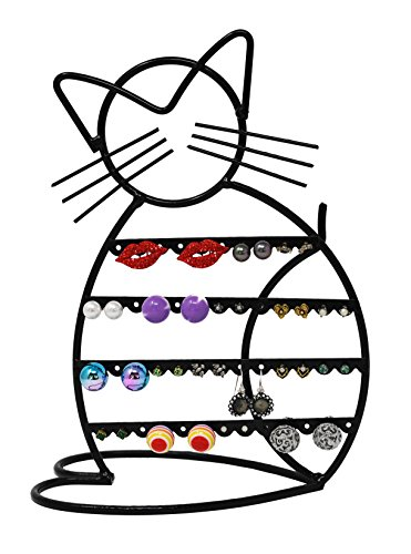 (ARAD Cat-Shaped Earring Holder, Jewelry Rack, Display Organizer for Piercings (Black Finish))