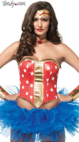 Leg Avenue Women's 4 PIece Super Star Hero Costume Kit, Red/Gold, Small - Superhero 4 Piece Costumes
