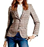 Oberora-Women Clasic Plaid Two Buttons Business OL Blazer Jacket Coat 2XL 1