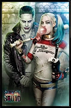 Suicide Squad Poster and Frame Plastic – Joker and Harley Quinn 36 x 24 inches
