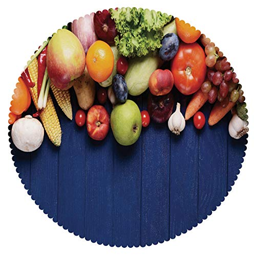 iPrint Cool Round Tablecloth [ Harvest,Fresh Organic Fruits and Vegetables on Blue Wooden Table Natural Vegan Options,Multicolor ] Fabric Home Tablecloth Ideas