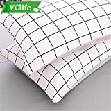 VClife Checkered Queen Twin Pillow Cases, Reversible Geometric Gray White Pattern Design, Set of Two with Envelope Closure End, Ultra Soft, Breathable, Wrinkle-resistant