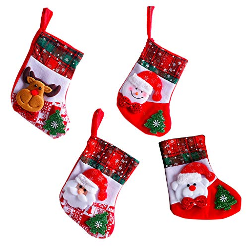 Needlepoint Mini Christmas Stocking (ShapeW 4pcs Christmas Stocking Felt Applique Kit, Bear,Elk,Snowman,Santa Claus)