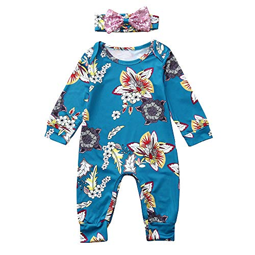 AMSKY Baby Clothing Dividers for Drawers,Infant Baby Girls Long Sleeve Floral Print Jumpsuit Romper+Headband Outfits,Cartoon -
