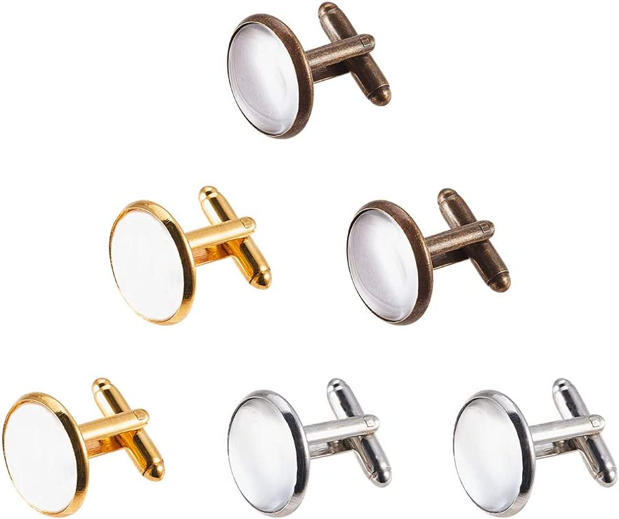 20pcs Cufflink Blanks 8mm Cabochon Settings Mens Clothing Accessories Gold
