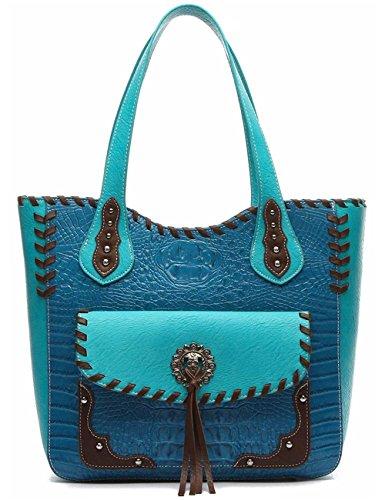 Western Style Totes Conchos Studs Crocodile Concealed Carry Purse Country Handbag Women Shoulder Bag Turq (Handbag Winged Heart)