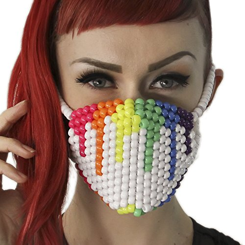Rainbow Paintball Drip White Surgical Kandi Mask by Kandi Gear -