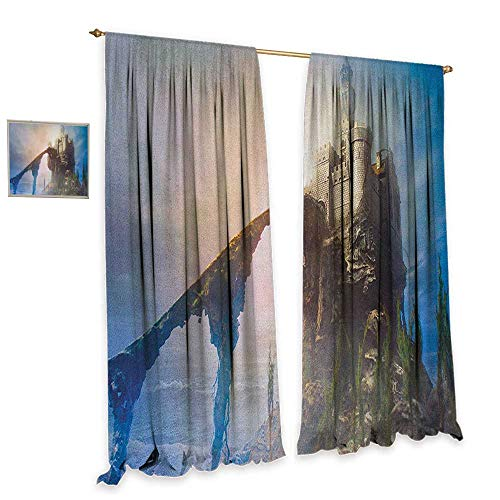 homefeel Medieval Blackout Window Curtain Old Ancient Fantastic Castle on The Hill Legendary Royal Stories of Middle Age Mist Blackout Draperies for Bedroom W84 x L108 Grey Blue
