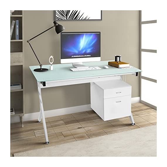 "ModernLuxe Computer Desk Home Office Table with Glass Top and Storage Drawers White (White) - [Dimensions] Computer desk size: 51.5""L X 23.6""D X 29.5""H, surface area provides ample desktop space for working [Sturdy Material] Made of strong MDF and tempered glass that provides solid support while also easy to spot clean and maintain for long lasting durability [Organization] Convenient side storage drawer connected with to desk is crafted with a modern design and equipped with smooth-glide metal runners - writing-desks, living-room-furniture, living-room - 51y3Zf54n1L. SS570  -"