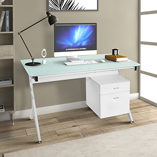 ModernLuxe Computer Desk Home Office Table with Glass Top and Storage Drawers White (White) (With Drawers Table Glass)