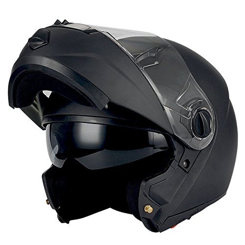 1Storm Commander Motorcycle Modular Full Face Helmet Flip up Dual Visor/Sun Shield; Matt Black