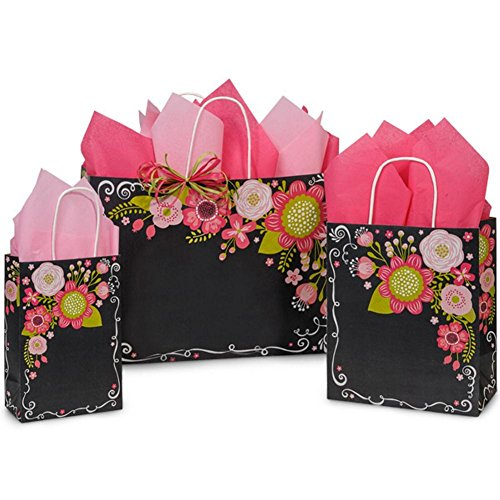 Chalkboard Flowers Paper Shopping Bags - Assortment of 3 sizes - 375 Pack by NW