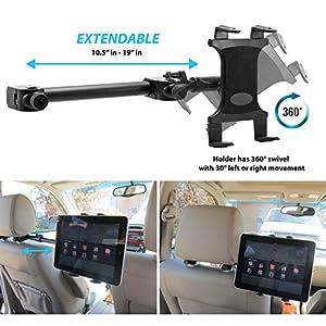 Premium Multi Passenger Universal Headrest Cradle Car Mount for Apple ipad / ipad 2 / ipad 3 / ipad 4 / ipad Air and ipad Mini w/ Swivel Vibration-Free Cradle (revised - with all 7-12 inch tablets)
