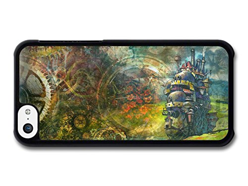 Howl's Moving Castle with Gears Pattern Fantasy Illustration coque pour iPhone 5C
