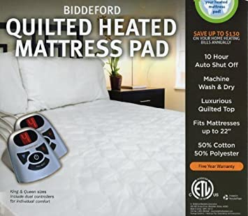 Biddeford Automatic Heated Quilted Mattress Pad White Color (1, Twin) COMINHKR092398