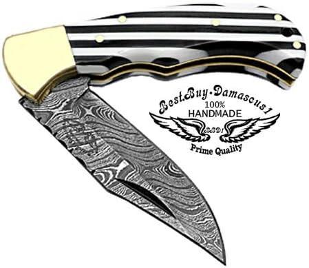 Beautiful Black White Long Lines 6.5 100 Custom Handmade Damascus Steel Folding Pocket Knife Brass Bloster with Back Lock Prime Quality
