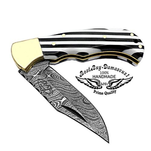 Beautiful Black White Long Lines 6.5 100 Custom Handmade Damascus Steel Folding Pocket Knife Brass Bloster with Back Lock Prime Quality