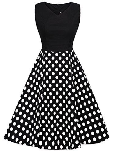FAIRY COUPLE 1950S Vintage Rockabilly Lunares Vestido de Baile DRT072(M,Negro+Negro Blanco Puntos)
