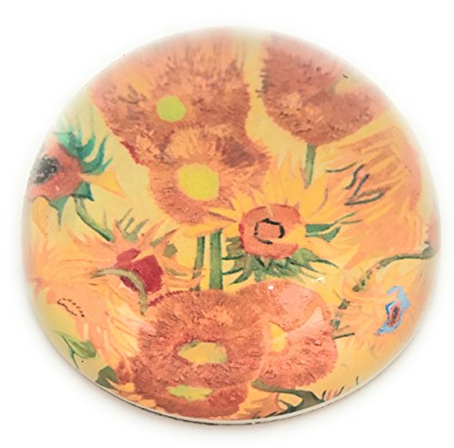 Value Arts Vincent Van Gogh Sunflowers Glass Dome Paperweight, 3 Inches Diameter ()