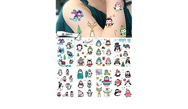 hello rosa Penguin Tatuaje Temporal Infantil, Paquete de 18 Hojas ...