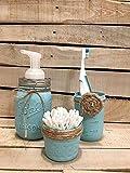Three Piece Set Rustic Mason Jar Bathroom Storage, Mason Jar Organizer, Bathroom Accessories, Pump