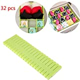 32pcs Plastic DIY Grip Drawer Organiser Dividers Household storage Thickening Housing Spacer Sub-grid Finishing Shelves for Home Tidy Closet Stationary Makeup Socks Underwear Scarves Organizer