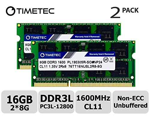 Timetec Hynix IC 16GB Kit(2x8GB) DDR3L 1600MHz PC3L-12800 Non ECC Unbuffered 1.35V CL11 2Rx8 Dual Rank SODIMM Laptop Memory Ram (16GB - Sodimm Alienware Memory