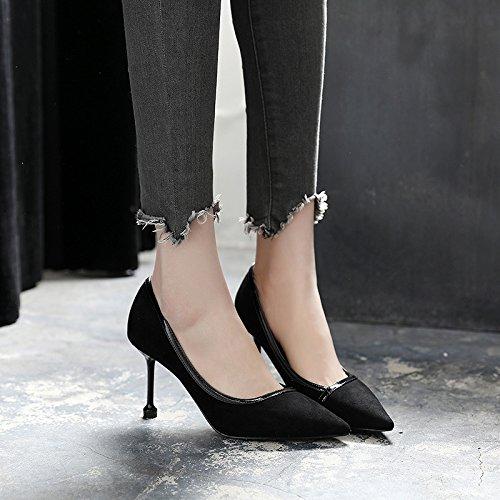 Mujer Con De Punta De La La Boquilla GAOLIM Tacón La Primavera Solo Zapatos De Zapatos Zapatos Negro Mujer Luz De Zapatos En Negro Fina De 67Ywqz