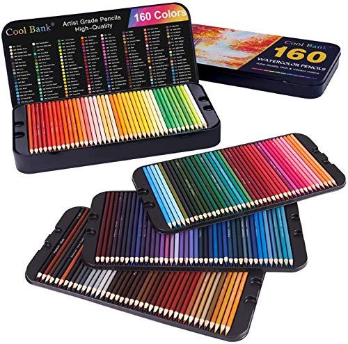 Professional Watercolor Pencils 160 Set Coloring Soft Vibrant Colors Blending