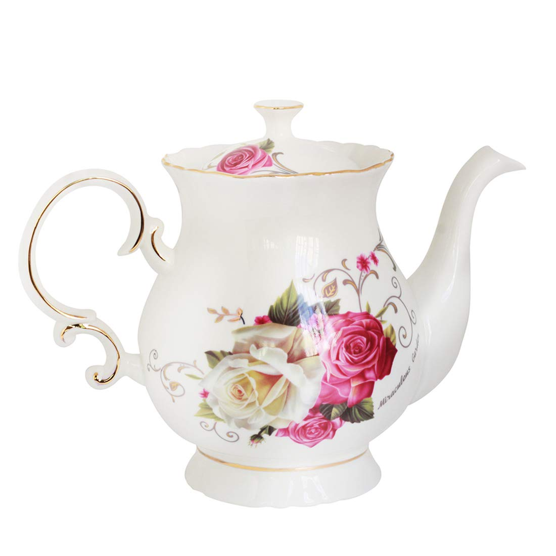Jomop European Style Ceramic Flower Teapot Coffee Pot Water Pot Porcelain Gift Petal Large 5.5 Cups (1, Rose)