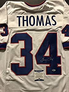 Autographed/Signed Thurman Thomas Buffalo Bills White Football Jersey Beckett BAS COA