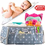 Diaper Storage Caddy Nursery Organizer   Grey Baby Diaper Caddy & Portable Changing Pad   Suitable for Car Travel Picnic & Nursing Station