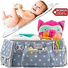 [Patrocinado] Organizador de almacenamiento organizador de pañales | Gris Caddy y portátil cambiador de pañales de bebé | Apto para coche de viaje Picnic y lactancia estación