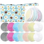 Organic Bamboo Nursing Pads (14 Pack)+Laundry Bag & Travel Bag, Size: 4.7 inch Option - Contoured Washable & Reusable Breast/Breastfeeding Pads (Large, Contoured Shape)