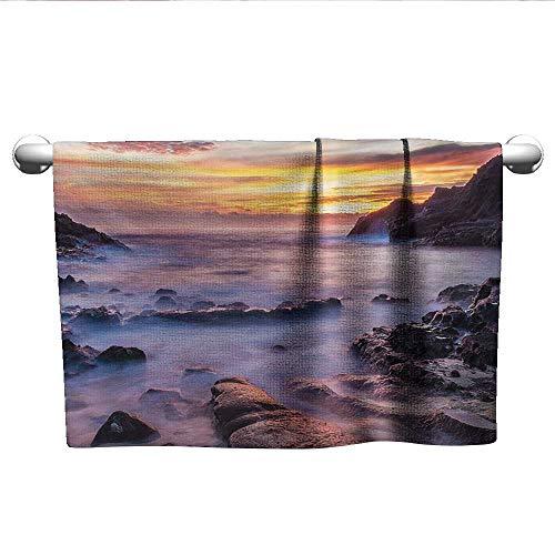 Hawaiian,Face Towels Child Colorful Sunrise at Halona Cove Eternity Beach Oahu Foggy Coast Seascape Bath Towels for Kids Yellow Orange Purple W 35