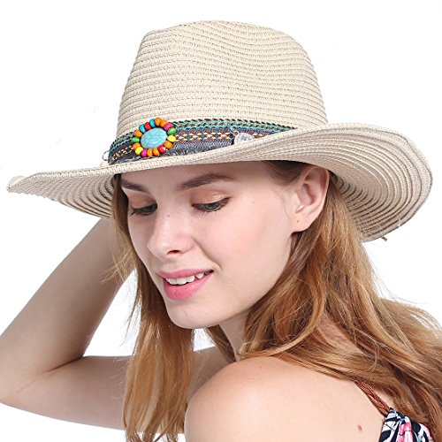 Vintage Unisex Adults Western Cowboy Hat with Rhinestone Summer Straw Sun Hats (Khaki)