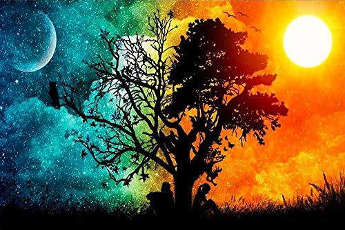 DIY 5D Diamond Painting by Number Kits for Adults, Full Drill Diamond Sun & Moon Embroidery Dotz Kit Arts Craft for Home Living Room Wall Decor, 11.8 x 15.8 inch
