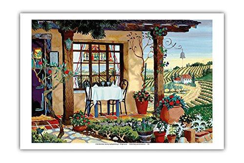 Pacifica Island Art A Taste of Wine Country - Tuscany Italy - Italian Villa, Vineyards - From an Original Watercolor Painting by Robin Wethe Altman - Master Art Print - 12in x 18in