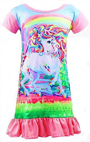Girls Unicorn Nightgown Sleep Shirts Printed Star Rainbow Nightshirt Casual Nightie Princess Night Dresses (Light Pink Hair, Size 140 for 7-8Y)