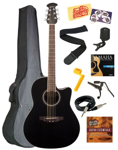 Ovation CS24-5 Celebrity Standard Mid-Depth Cutaway Acoustic-Electric Guitar Bundle with Gig Bag, Instrument Cable, Strings, Strap, Tuner, Capo, String Winder, Picks, Instructional DVD, and Polishing Cloth - Black